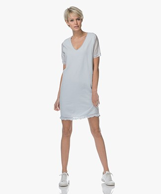 BRAEZ Swat French Terry Dress with Woven Sleeves - Aqua