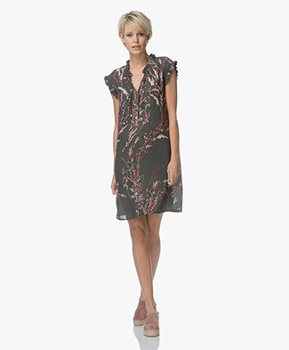 BY-BAR Flower Chiffon Printed Dress - Dark Green