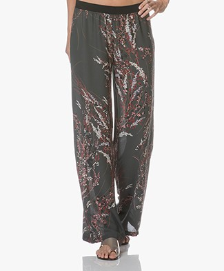 BY-BAR Flower Chiffon Printed Pants - Dark Green
