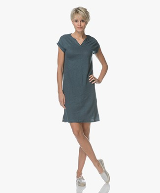 BY-BAR Hanna Linen T-shirt Dress - Oil Blue