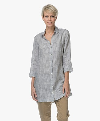 Belluna Belem Linen Blouse with Stripes - Blue/Off-white