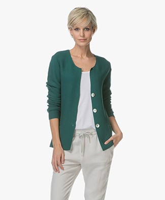 Belluna Branca Cotton Blend Knitted Cardigan - Green
