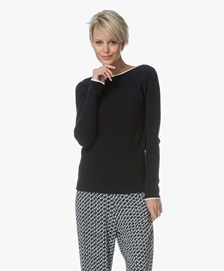 Belluna Marine Viscose-Cotton Blend Sweater - Navy/Ecru