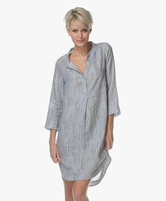 Belluna Seal Striped Linen Dress - Blauw/Off-white