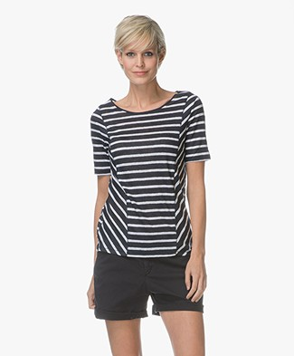 Denham Marine Striped Linen Jersey T-shirt  - Navy Stripe
