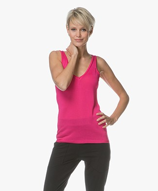Drykorn Minka Knitted V-neck Top - Fuchsia Pink