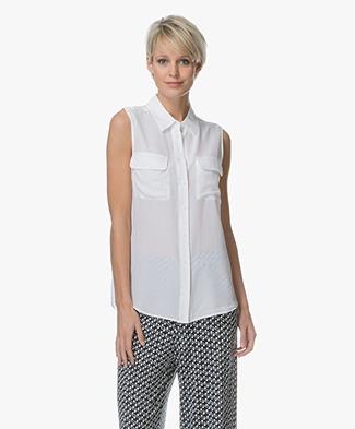 Equipment Signature Sleeveless Silk Blouse - Bright White