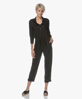 Majestic Filatures Linen Jersey Jumpsuit - Black