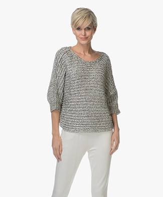 Repeat Pullover with Lurex Yarns - Khaki/Off-white