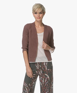 BY-BAR Cherry Cotton Knitted Cardigan - Plum