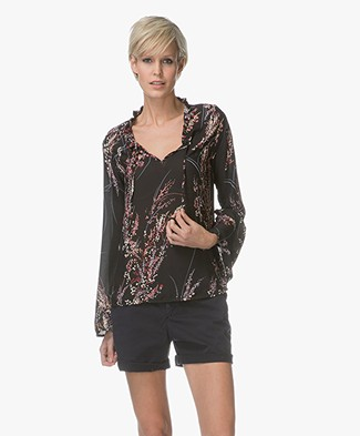 BY-BAR Flower Chiffon Printed Blouse - Black