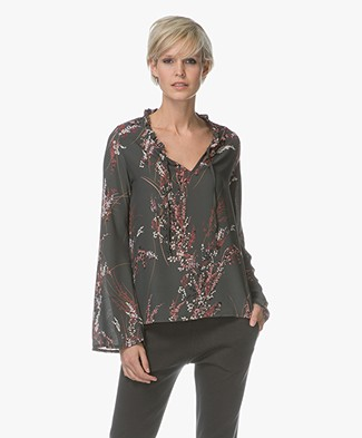 BY-BAR Flower Chiffon Printed Blouse - Dark Green