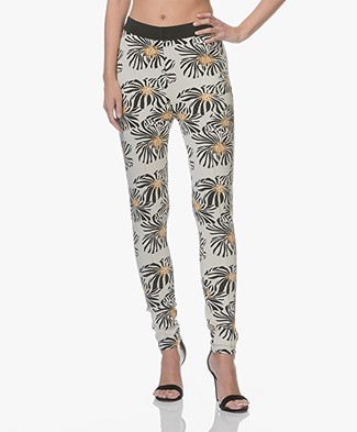 Kyra & Ko Jill Soft Scuba Pants with Print - Cream/Black/Ochre Yellow