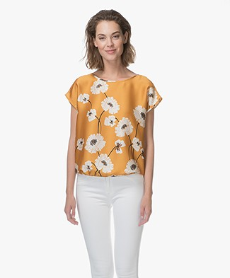 Kyra & Ko Joelle Satin Printed Blouse Top - Mango