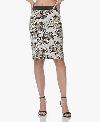 Kyra & Ko Nanda Scuba Pencil Skirt - Cream/Black/Ochre Yellow