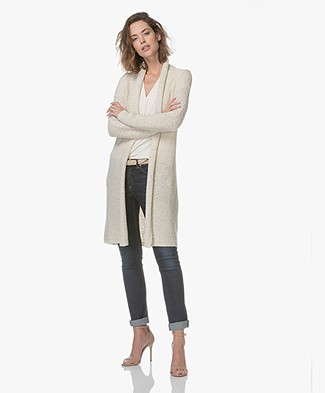 Kyra & Ko Neo Long Tape Yarn Cardigan - Cream