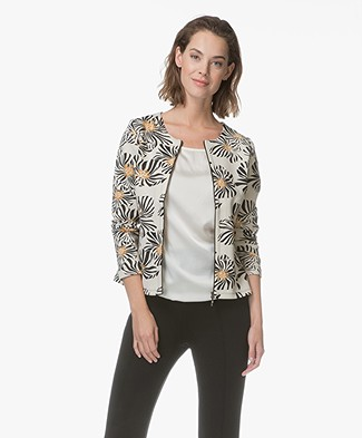 Kyra & Ko Nora Soft Scuba Jacket with Zipper - Cream/Black/Ochre Yellow
