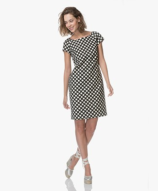 Kyra & Ko Roos Jacquard Dot Dress - Black