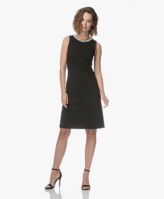 Kyra & Ko Saline Sleeveless Dress with Pearls - Black