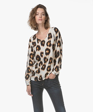 Kyra & Ko Bente Viscose Animal Print Blouse - Cream