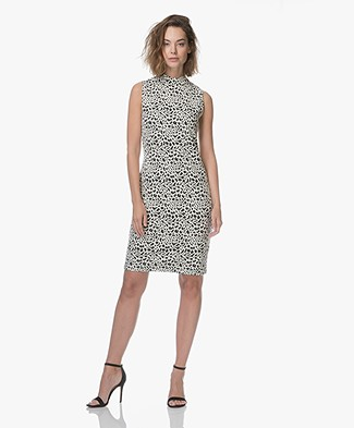 Kyra & Ko Busra Jacquard Animal Print Dress - Black