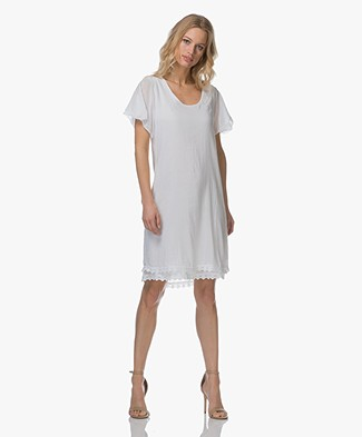 BRAEZ Darly Viscose Blend Dress with Lace Details - White