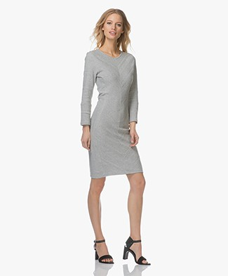 Boss Orange Dedressy Dress with Rib Structures - Grey