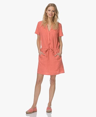 Indi & Cold Linen Shirt Dress - Coral