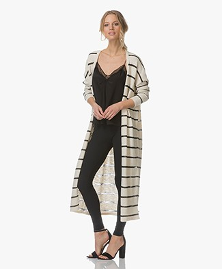 Leï 1984 Philomene Long Striped Cardigan - Ecru/Black