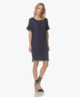Repeat Dress with Frill Sleeves - Dark Blue