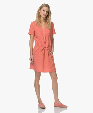 Indi & Cold Linnen Blousejurk - Coral