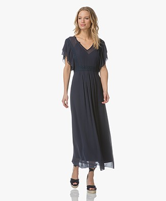 Indi & Cold Maxi-dress with Embroidery - Marine