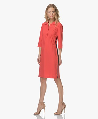 Josephine & Co Roxanne Jersey Dress with Collar - Red