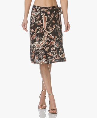 no man's land A-line Paisley Printed Jersey Skirt - Black