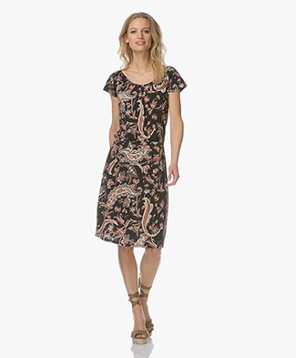 no man's land Jersey Paisley Print Dress - Black