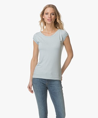 no man's land Viscose T-shirt with Boat Neck - Aquamarine