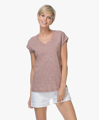 BY-BAR Joanna Striped Linen Blend T-shirt - Wine