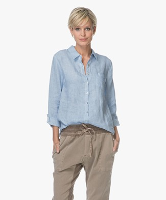 Belluna Fresh Linen Blouse - Blue