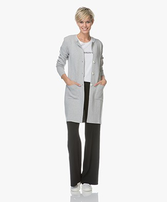 Belluna Lou Long Cardigan in Cotton - Ash