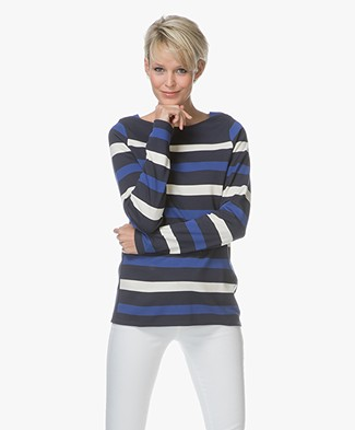 Denham Stealth Striped Long Sleeve - Navy Stripe