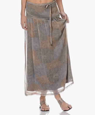 indi & cold Chiffon Printed Maxi Skirt - Arena
