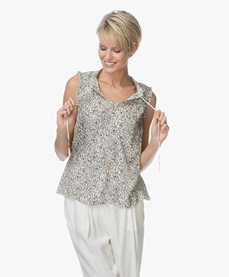 Indi & Cold Ruffle viscose Top - Marfil