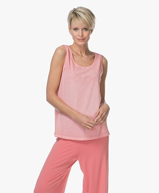 Repeat Katoenen Mouwloze Top - Coral