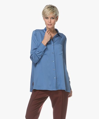 Repeat Silk Shirt - Blue