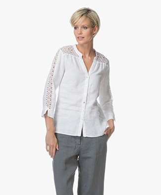 Belluna Sasja Linen Blouse with Lace - White