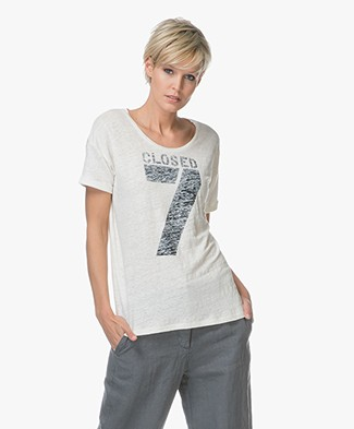 Closed Linen T-shirt with Print - Ivory