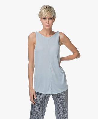 Drykorn Esim Jersey Top with Low-cut Back - Greyish Blue