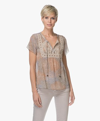 Indi & Cold Chiffon Printed Short Sleeve Blouse - Arena
