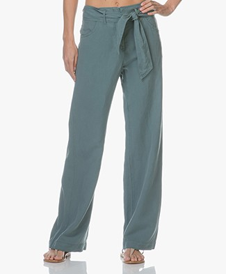 no man's land Wide Leg Paper Bag Pants - Eucalyptus