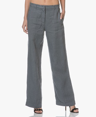 no man's land Linen Wide Leg Pants - Pewter
